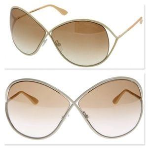 New TOM FORD Ivory Oversized Sunglasses